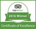Trip Advisor 2016 Winner Certificate of Excellence